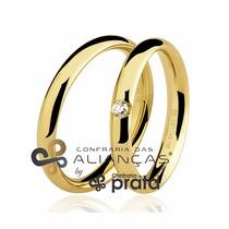 Par De Aliança Ouro 18k - 5mm/10grs - 1 Diamante - Dc401