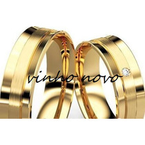 Alianças De Casamento Noivado 6mm Moeda Antiga B. Ouro 18k