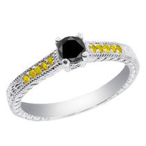 0.36 Ct Black Diamond Sterling Silver Ring