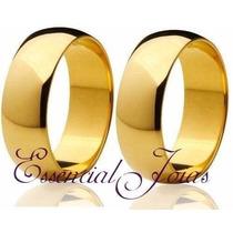 Par Alianças 5 Mm 8 Gramas Ouro 18 Klts Anatômicas Casamento
