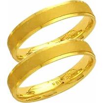 Par Aliança De Casamento Fosca Reta Trabalhada Ouro 18k-al68
