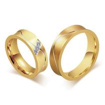 Par Aliança Noivado Casamento Banhada Folheada Ouro 6mm Top