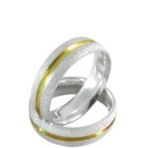 Par De Alianças Prata 950 Friso Banhado Ouro 18k Namoro 6mm