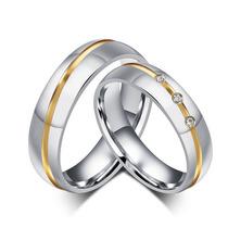 Par Alianças Baratas Aço Titânio Noivado Casamento Cristais