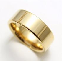 1 Aliança De Ouro 18k Modelo Reta 7 Grs 8mm Polida Casamento