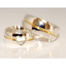 Alianças Prata 950 Coração Vazado Com Friso Banhado A Ouro