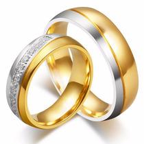 Aliança De Tungstenio Banhada A Ouro Com Zircônias