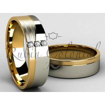 Par De Alianças Em Ouro 18k E 3 Diamantes. Casamento Noiva