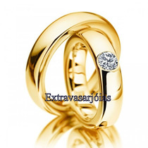 Lindo Par De Alianças Ouro 18k!com Diamante De 20 Pontos.