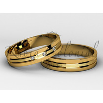 Lindo Par De Alianças Em Ouro 18k E 3 Diamantes.