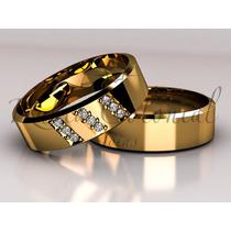 Alianças Em Ouro 18k E 9 Diamantes De Qualidade. Casamento