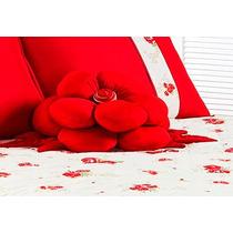 Almofada Flor Vermelha Em Malha 01 Peça