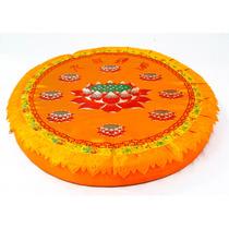 Almofada Redonda Flor De Lotus Para Yoga E Meditação 47cm