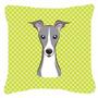 Checkerboard Lime Green Italian Greyhound Canvas Tecido Deco
