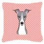 Checkerboard Rosa Italian Greyhound Canvas Tecido Decorativa