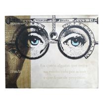 Quadro Decorativo 25x32cm Madeira C/frase Intuitiva