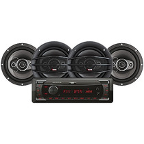 Kit Rádio Mp3 Com Usb/sd + 2 Pares Alto Falante 4x6½ Novik
