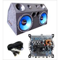 Caixa Trio Dupla 2 Subwoofer Azul Com Amplificador Digital