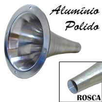 2 Cornetas Cone Longo De Rosca Alumínio Polido Tipo Jarrão