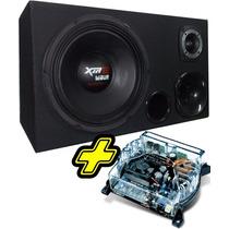 Caixa Trio De Som Automotivo + Amplificador Digital Stetsom