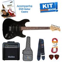 Kit Guitarra Elétrica Stratocaster St111 Waldman + Dvd Aula