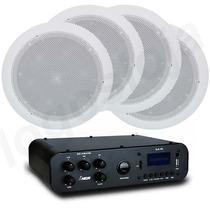 Kit Som Ambiente Música Amplificador Usb Fm Caixa Acustica