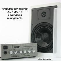 Amplificador Estéreo Nca + Caixa De Som Para Loja, Pc, Casa