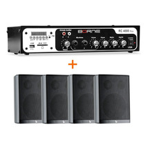 Kit Som Ambiente Borne Rc4000 Usb Fm + 4 Caixas Ps200