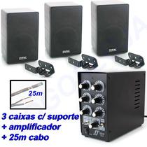 Kit Música Som Ambiente Amplificador Caixa Acústica Suporte