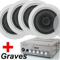 Amplificador Ab100r4 Nca + 4 Caixa De Som 120w Arandela Teto
