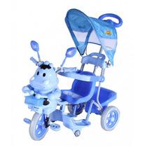 Carrinho Passeio Triciclo 3 Em 1 Pedal Capota Azul Bel 9353