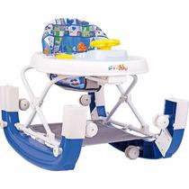Andador Balanco Regulavel Som 8 Rodas Infantil Bebe Azul