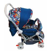 Carrinho De Bebê Tipo Berço 3 Posições Reversível Azul Novo