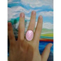 Anel Oval Vintage Retrô Cor Ouro Velho Pedra Rosa
