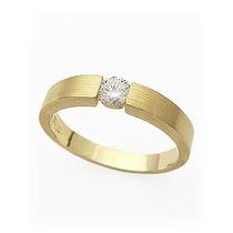 Anel Solitario D Ouro 18k Com Diamante 0.10 Cts Jr Joalheiro