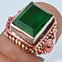 Masculino E. Anel De Prata 925-3tons-cristal Esmeralda Russo