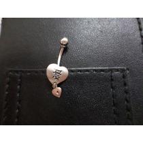 Piercing Ouro Branco E Brilante Formato Coração Frete Gratis