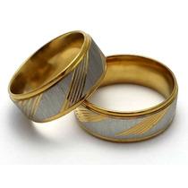 Aliança Anel Anatômica 9mm Aço Inox Escovado Prata Dourado
