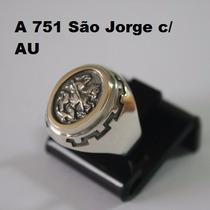 Anel De Prata Masculino C/ Ouro São Jorge