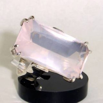 Anel Quartzo Rosa Natural Retangular Prata 925 P80408