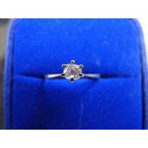 Anel Solitario De Ouro Branco 18k Com Diamante 07