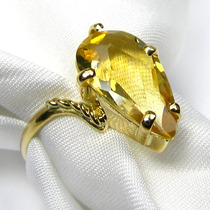 Lindo Anel Ouro 18k Em Citrino Amarelo Multifacetado Vivarte
