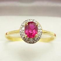 Anel Ouro Amarelo 18 Quilates Mais Rubi E Diamantes.