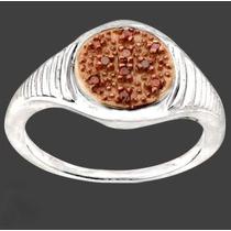 Diamante Vermelho Sobre Ouro Rosé 14k No Anel Em Prata 925