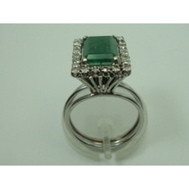 Anel De Ouro Branco 18k Diamantes E Esmeralda Jr Joalheiro