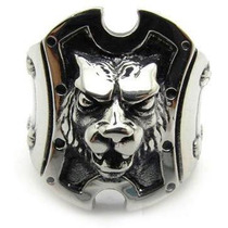Anel Gladiador Lion C/ Detalhes Na Lateral (prata De Lei 950