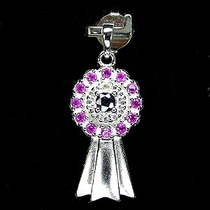 Delicado Pingente De Prata 925 ,rubi, Safira ,diamante