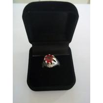 Anel Em Prata 950 Com Pedra Rubi Vermelha