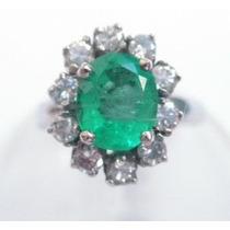Feliz Joias - Esmeralda Natural E Diamantes Em Anel
