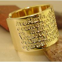 Anel Pai Nosso Ave Maria Regulavel Banho Ouro 18k Ojoalheiro